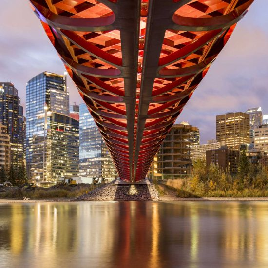 Peace Bridge over Bow River in Calgary, Canada