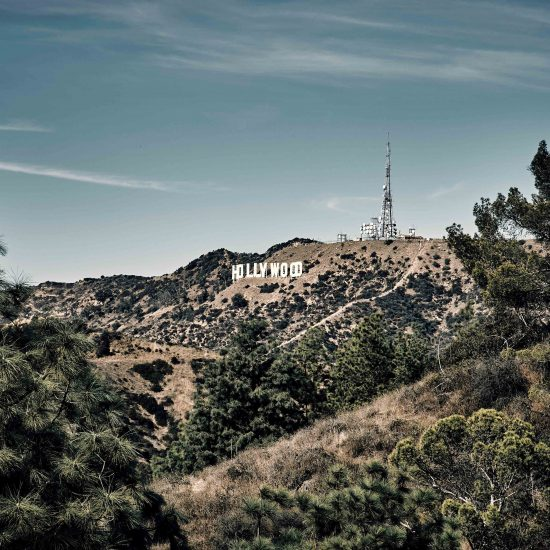 The Hollywood sign in the hills of Los Angeles, California.