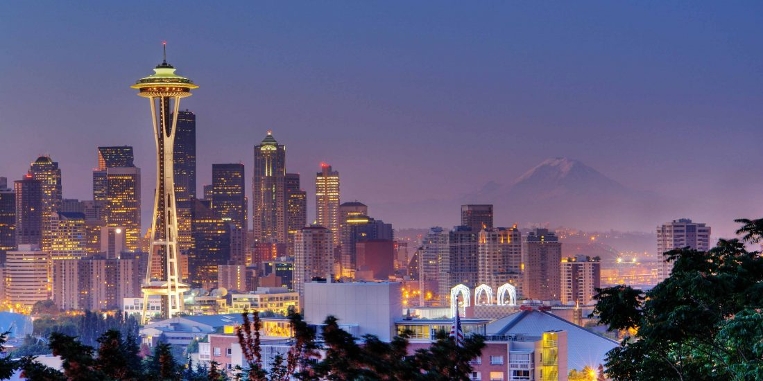 Seattle, Washington skyline at dusk
