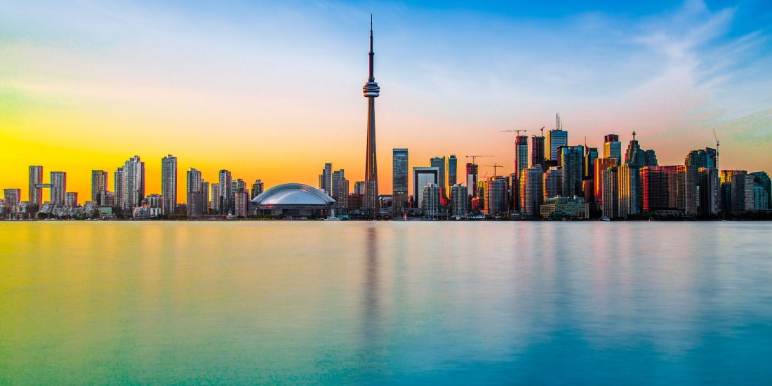 Toronto, Ontario, Canada, city skyline at dawn.